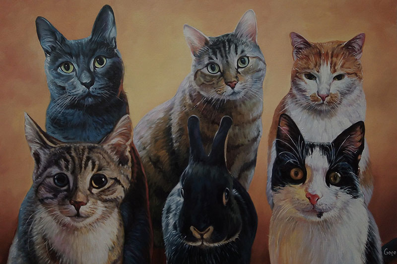 Custom handmade oil painting of five cats and a rabbit