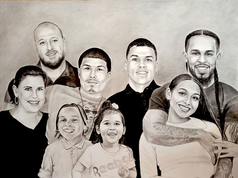 Custom handmade charcoal drawing of a family