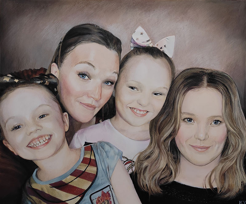 Beautiful pastel painting of a loving family
