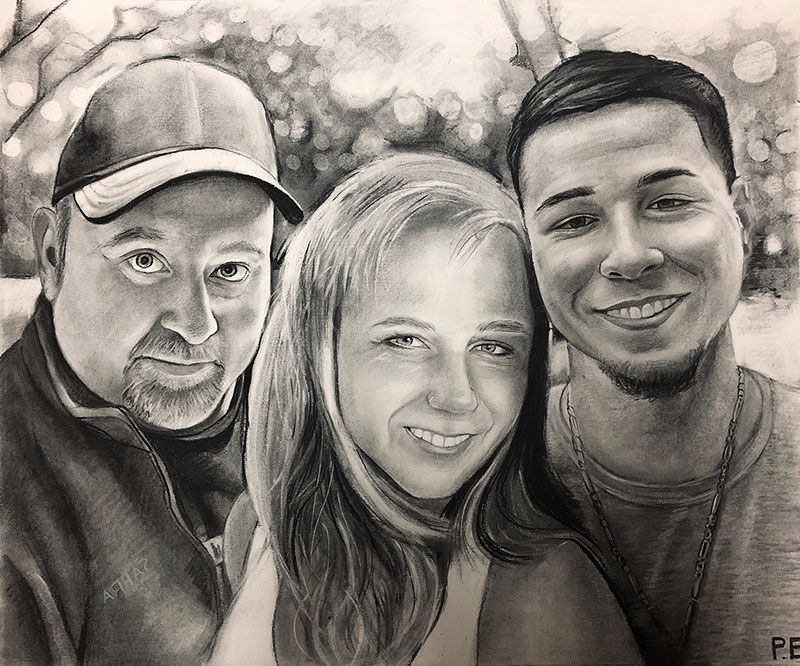 Beautiful charcoal drawing of a family