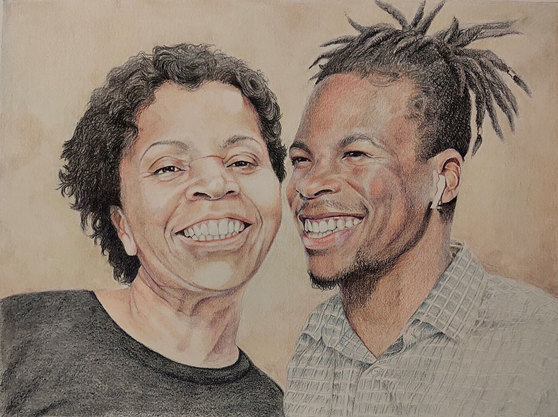 Gorgeous color pencil drawing of a mother and son