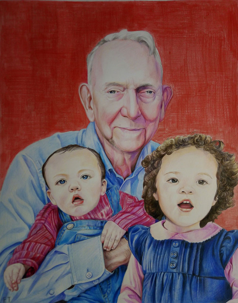 Gorgeous color pencil drawing of a grandpa and grandchildren