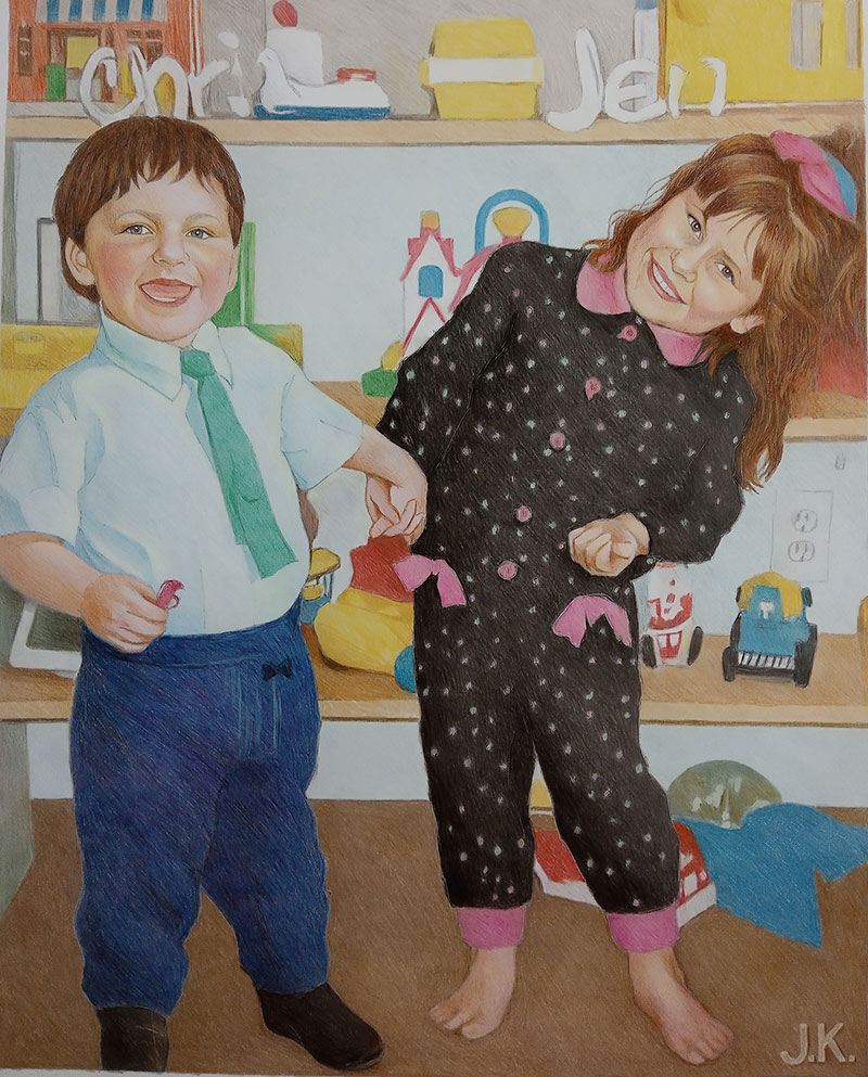 Beautiful color pencil drawing of two children
