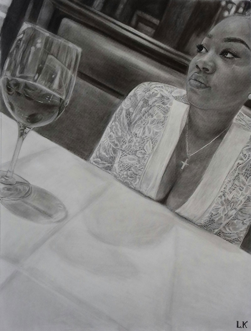 Personalized charcoal portrait of a lady