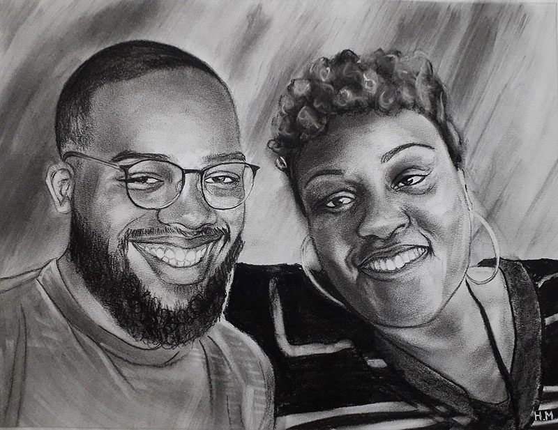 Beautiful handmade charcoal drawing of a mother and son