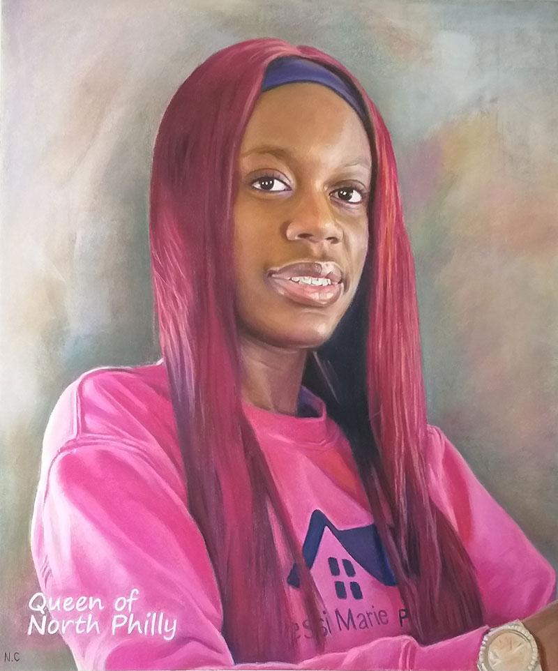 Hyper realistic pastel portrait of an adult