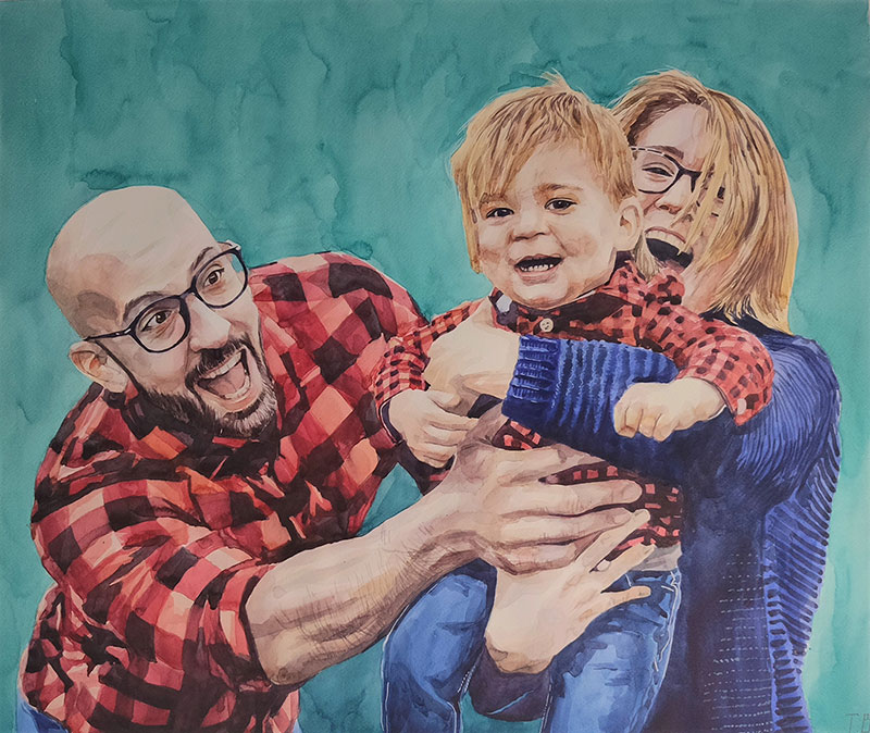 Beautiful watercolor painting of a father and children