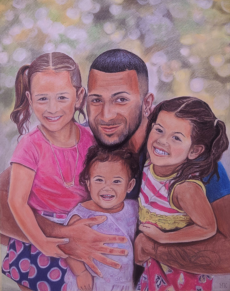 Beautiful handmade pastel painting of father with children