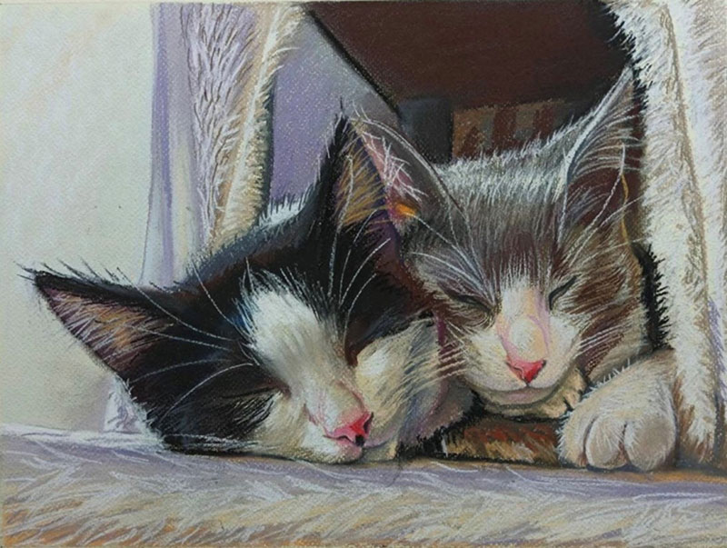 Beautiful handmade pastel painting of two cats