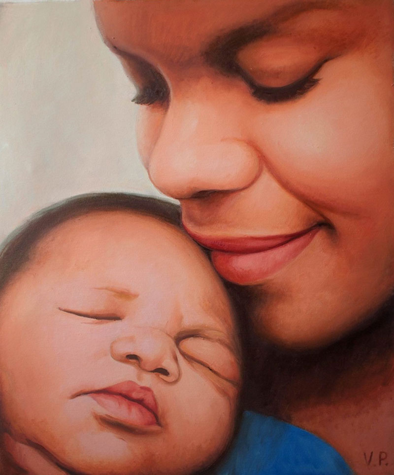 Stunning close up oil portrait of a mother and newborn baby