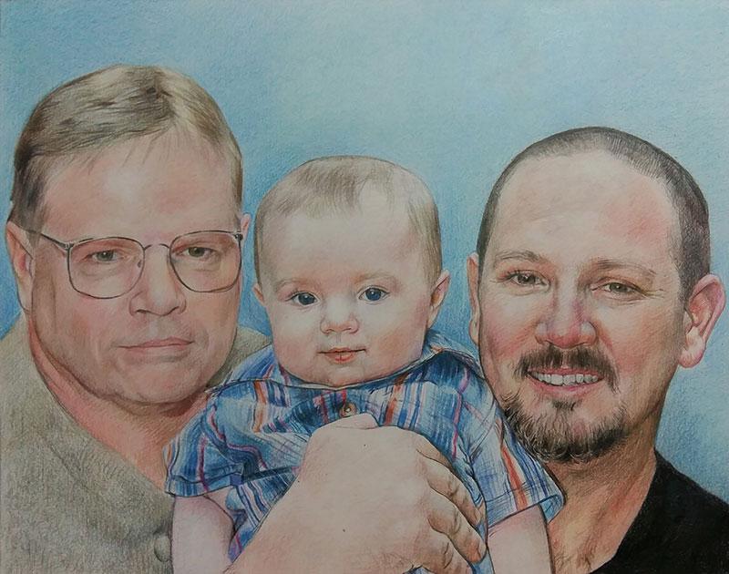Custom color pencil drawing of three generations