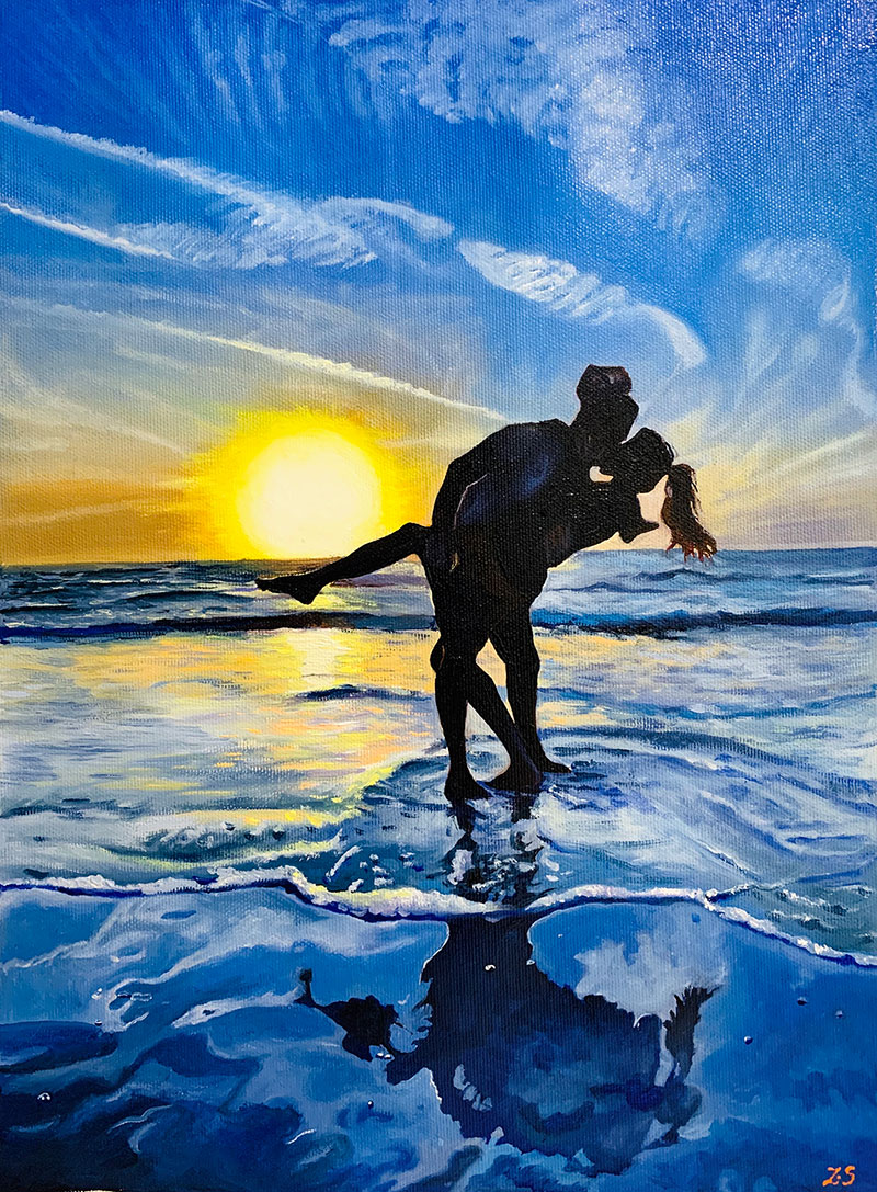 Gorgeous handmade oil painting of a kissing couple by sunset