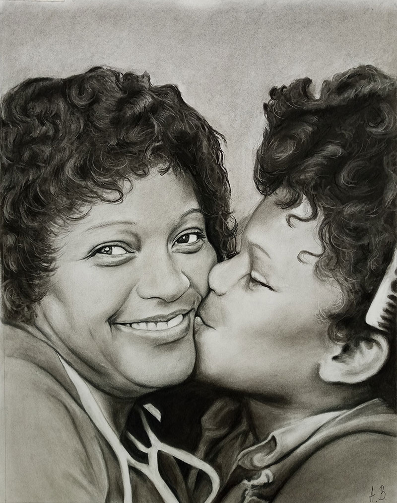 Gorgeous charcoal drawing of child kissing a parent
