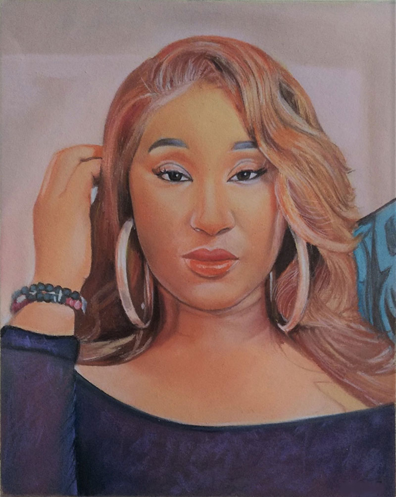 Gorgeous handmade portrait of a lady in pastel
