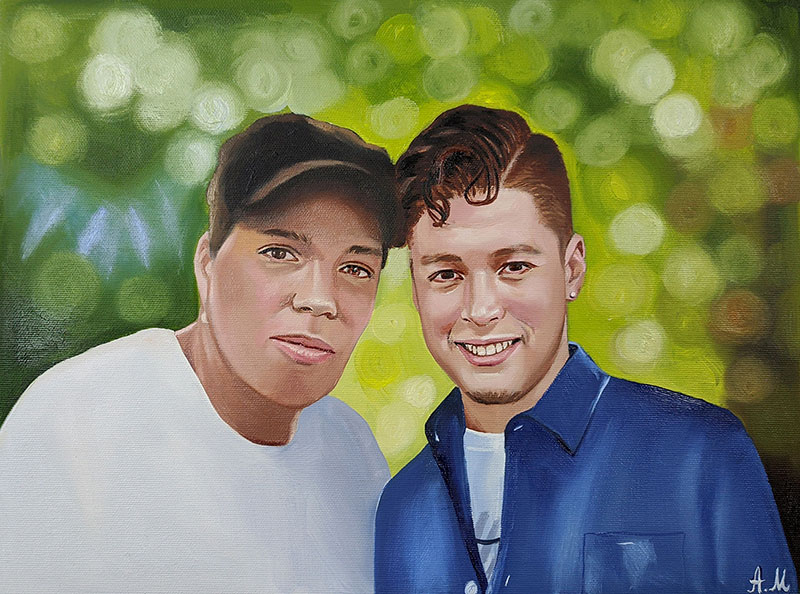 Custom handmade oil artwork of two adults
