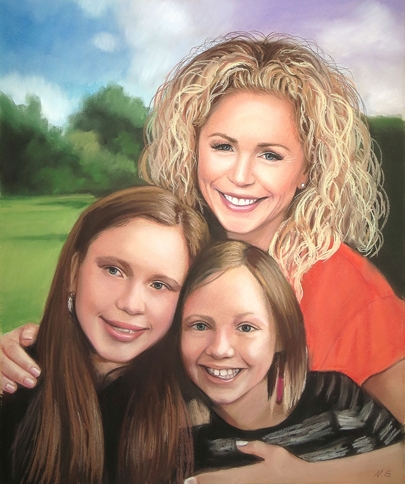 Beautiful handmade pastel painting of a family