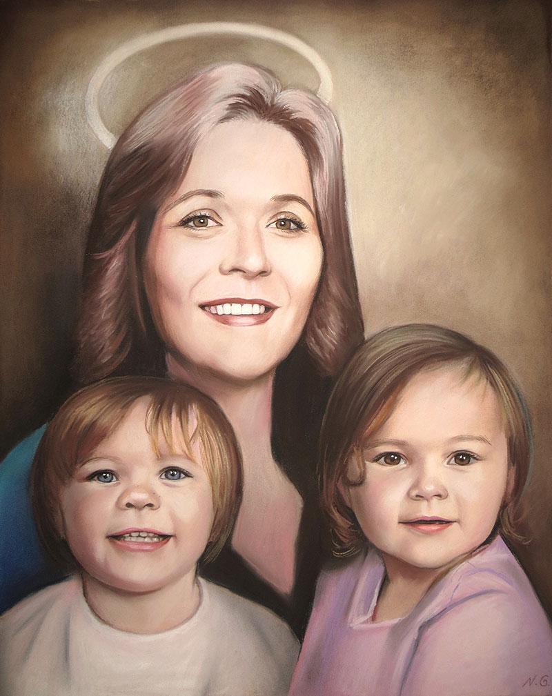 Beautiful pastel artwork of a grandmother with grandchildren