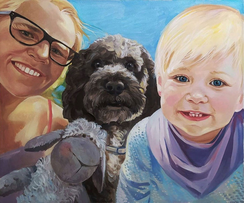 Beautiful handmade oil painting of people with pets
