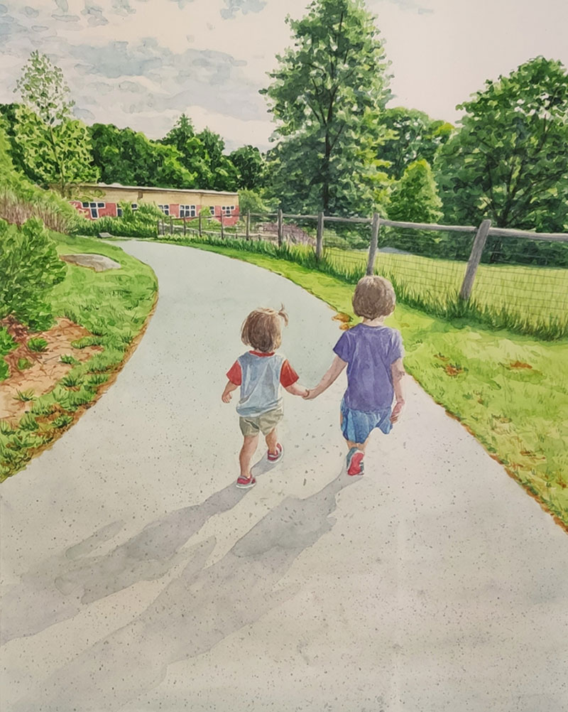 Gorgeous watercolor painting of two kids walking outdoors