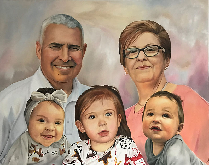 Beautiful painting of grandparents with grandchildren in oil