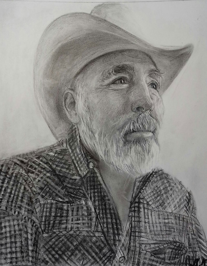 Custom close up charcoal drawing of a gentleman