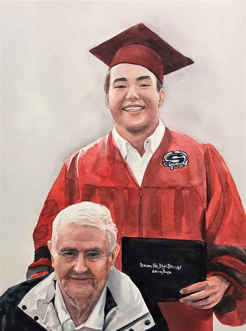 Custom watercolor painting of a grandfather and grandson