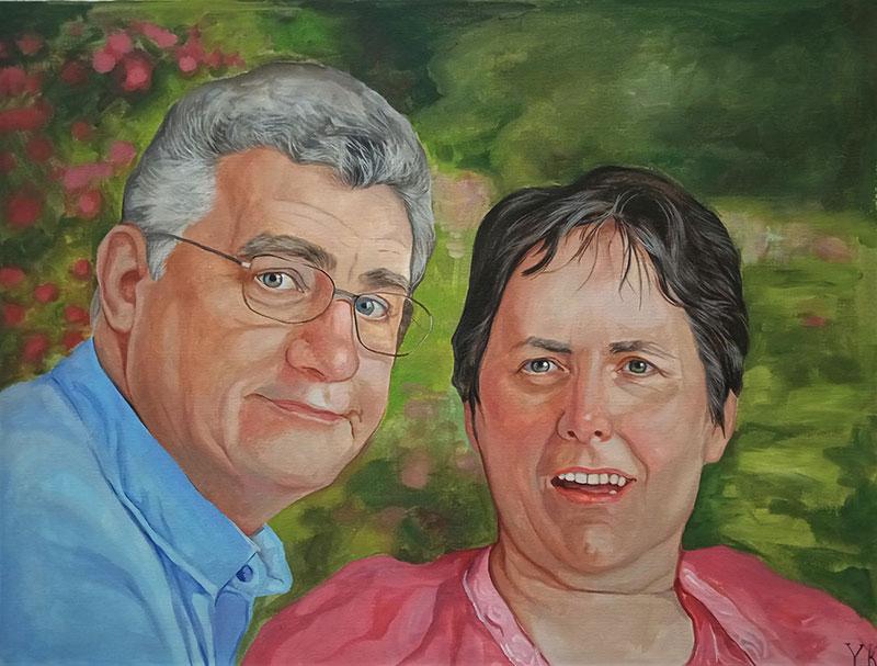 Beautiful handmade acrylic portrait of two adults