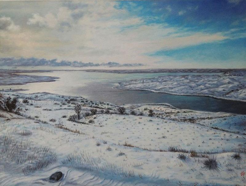 Custom handmade oil artwork of a landscape
