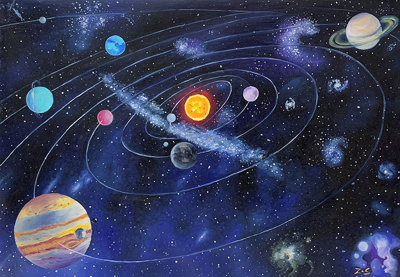 Custom handmade oil painting of solar system