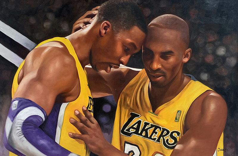Custom handmade oil portrait of basketball players