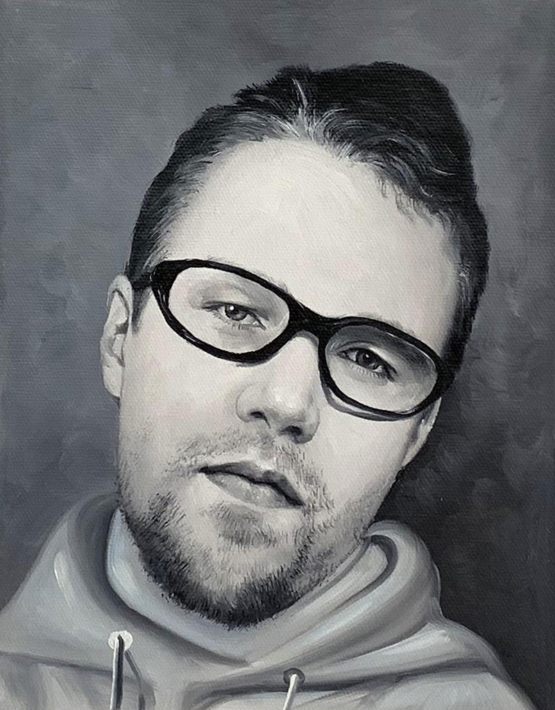 Close up oil black and white portrait of an adult
