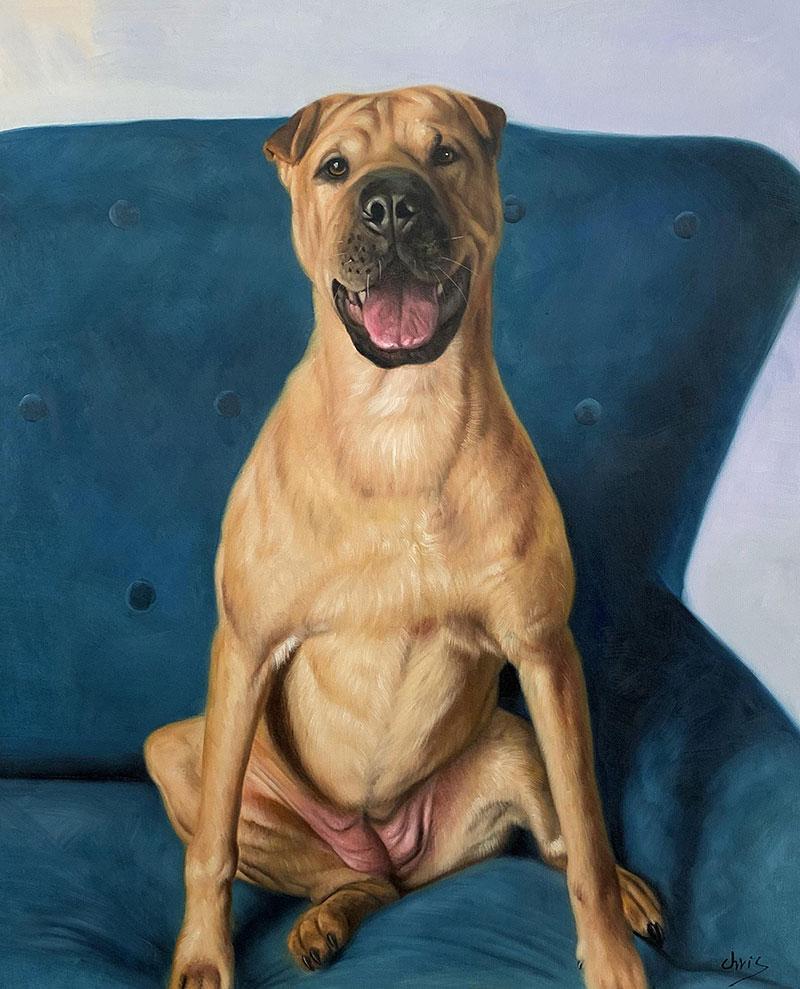 Custom handmade oil painting of a dog sitting on sofa