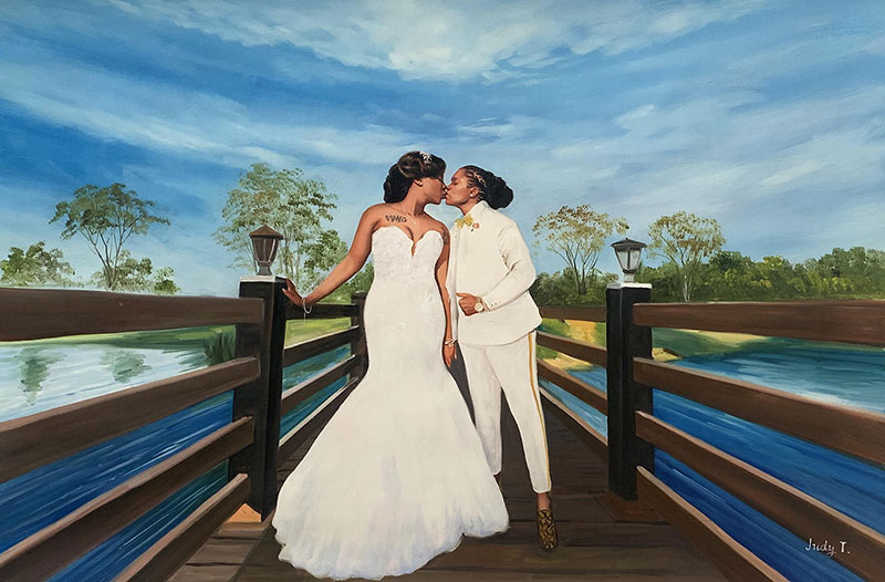 Gorgeous handmade oil wedding portrait of a gay couple