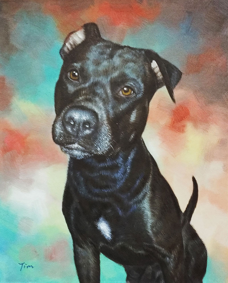 colorful dog oil painting