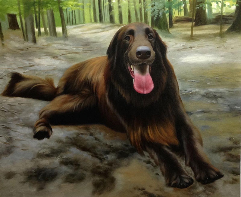 custom acrylic painting of brown Flat-Coated Retriever