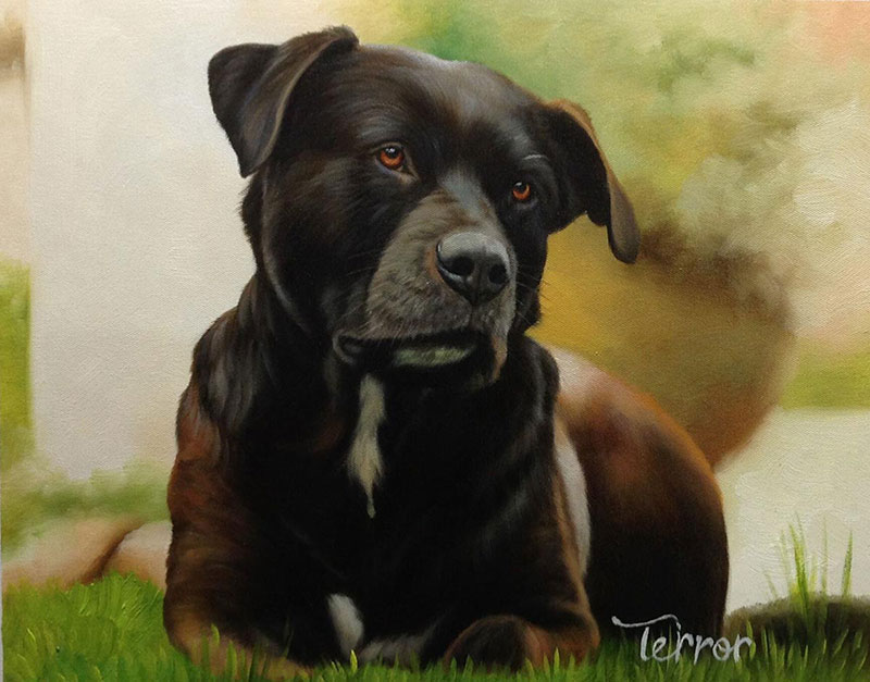 focused dog oil painting