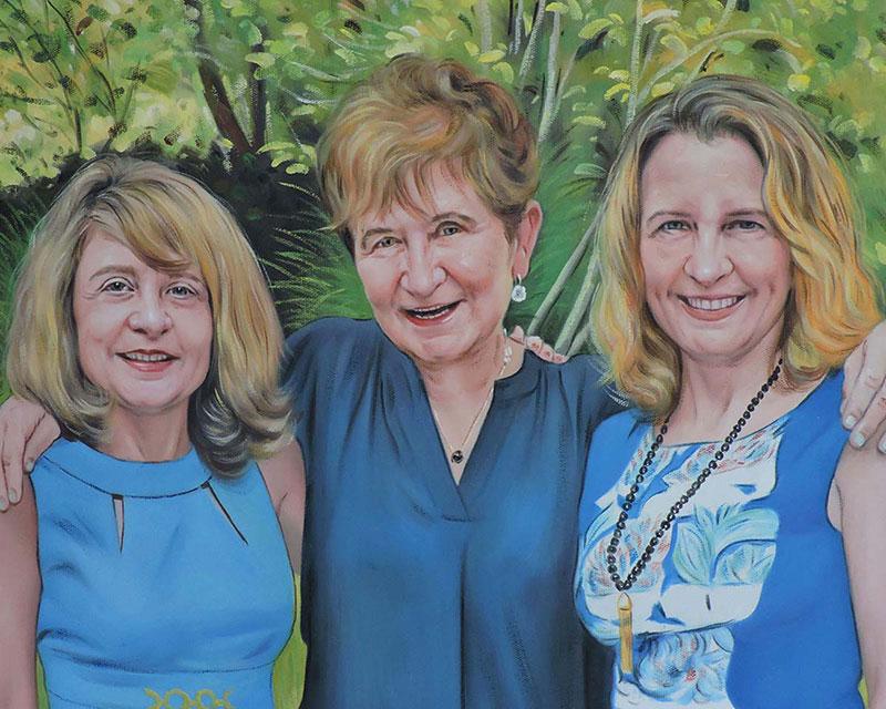 madre e figlie ritratto ad olio da foto idea regalo