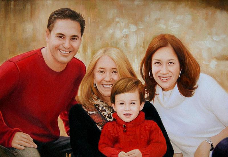 ritratto di famiglia ad olio da foto