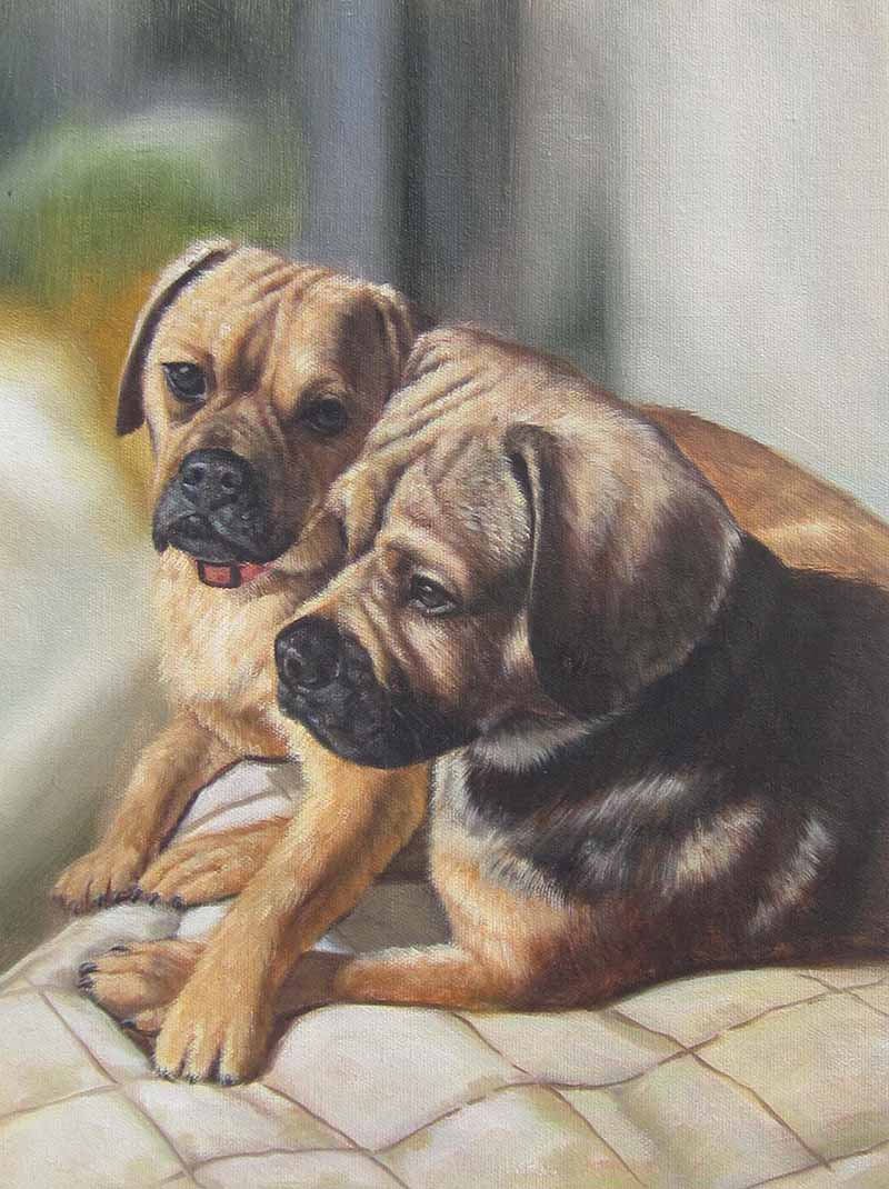 two cute puppy dog painting oil quality