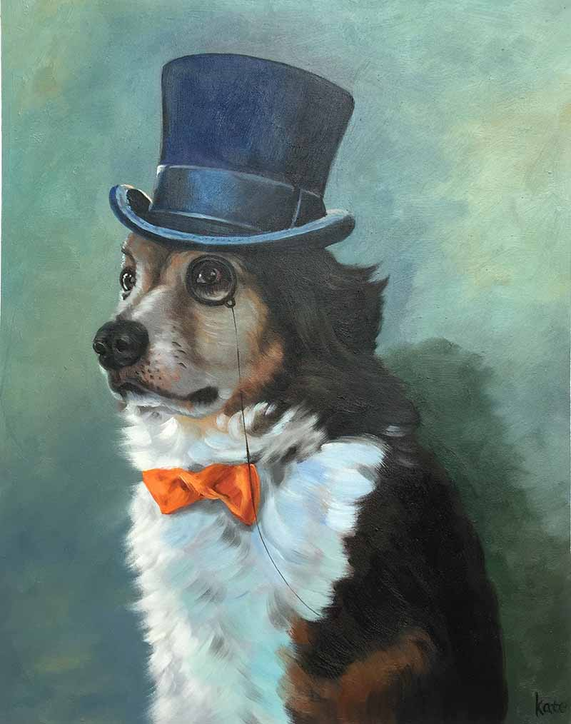 oil portrait of a dog with a hat