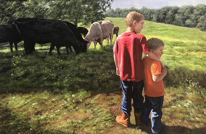 lovely oil landscape portrait countryside kids field cows