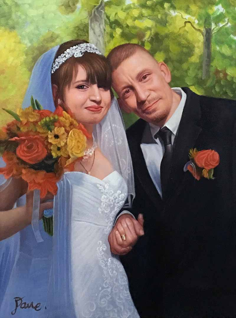 lovely oil wedding painting couple happy