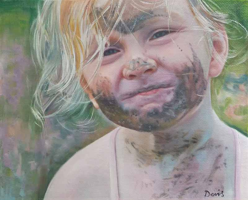 Beautiful oil painting kid child little playing in mud