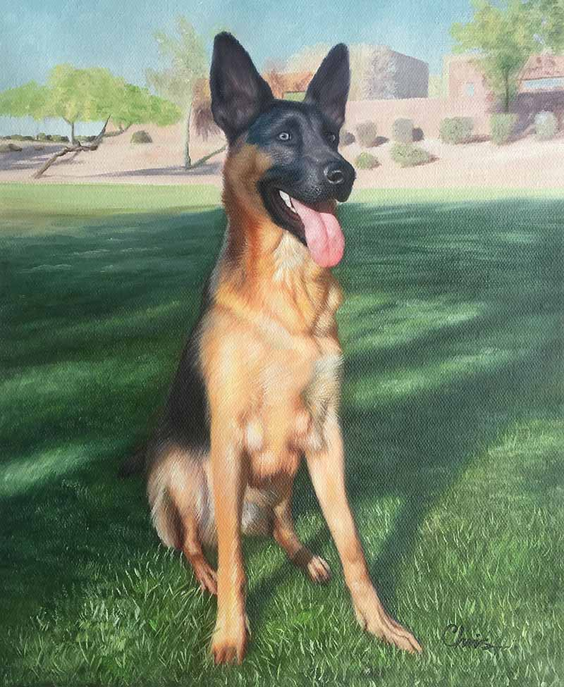 brilliant majestic german Shepard outdoors dog oil painted detailed