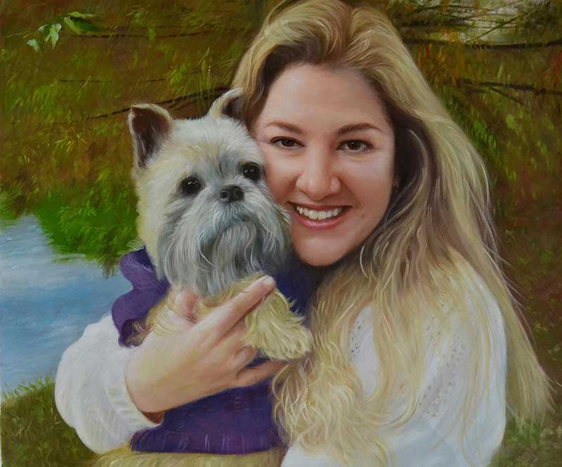 custom acrylic painting of woman with grey dog