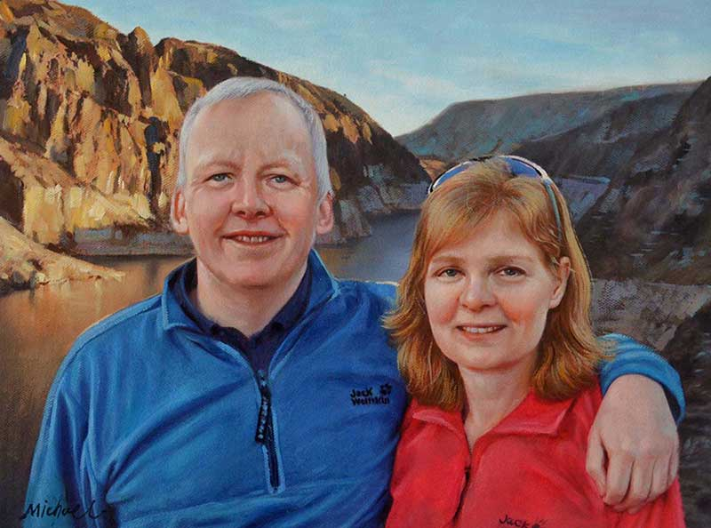 photo to oil painting of happy hiker couple outdoors