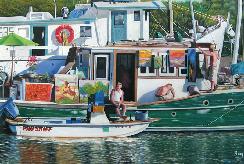 Custom oil handmade painting of a boat in the bay