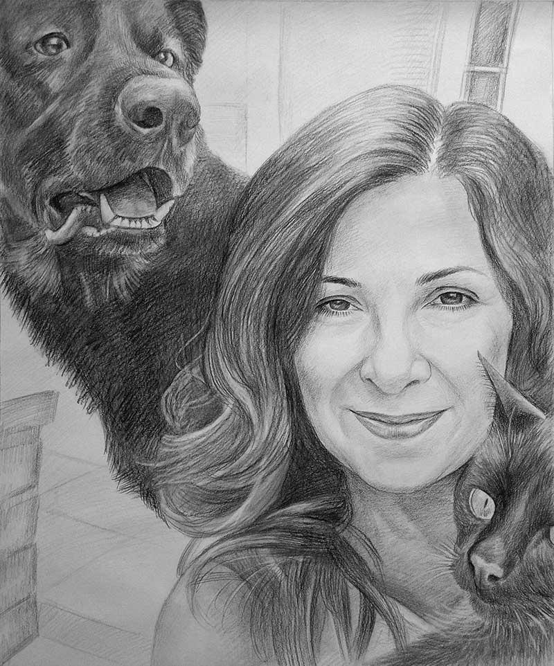 Ritratto carboncino donna con cane e gatto da fotografia