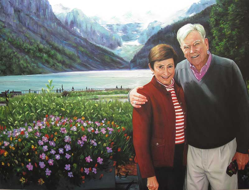 custom oil painting from picture of couple by lake