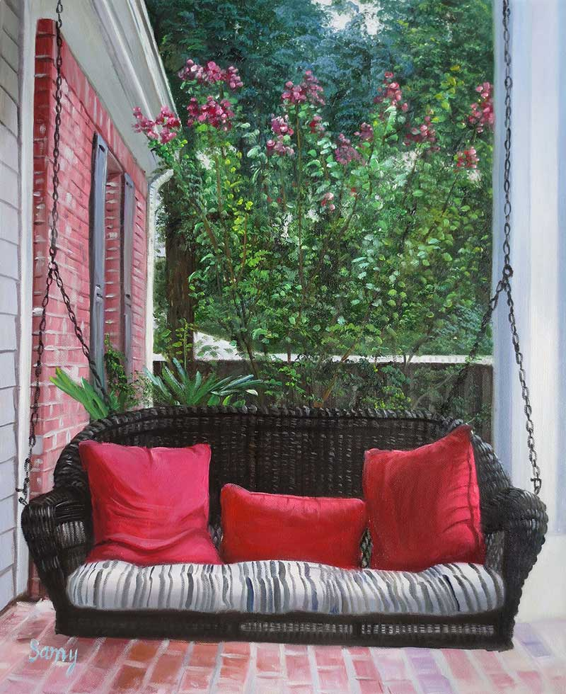 photo to oil painting on canvas of your porch swing
